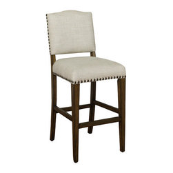 """American Heritage - Worthington Stool (Set of 2) - Finished in Coastal Grey with Sahara Sand Linen Upholstery, the Worthington also features Mortise and Tenon Construction, Adjustable Leg Levelers, Metal Footplate, Individual Tacking, Webbed Seating and a 3"""" Linen Cushion. Complete with a 1 Year Warranty. Features: -Coastal grey finish. -Sahara sand linen upholstery. -Mortise and tenon construction. -Stationary. -Adjustable leg levelers. -Individual tacking. -Metal footplate. -Fully assembled. -Manufacturer provides 1 year warranty. -Dimensions: 41""""-49"""" Height x 19.5"""" Width x 22.5"""" Depth."""