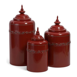iMax - iMax Red Metal Canisters, Set of 3 X-3-93165 - Fun and Functional Round Scarlet Metal Canisters, set of three