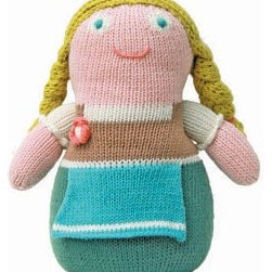 Gretel - This Gretel is a funky take on the classic fairy tale girl. Soft and hand-knitted, she will provide a soft cuddle for your child as well as color and whim for the space itself.