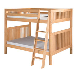 """Camaflexi - Full over Full Bunk Bed with Mission Headboard - Natural Finish - What do you do when the family is growing, your space is not, and a standard twin size bed just doesn't work anymore for your growing kids? Take a look at our Full over Full size, ultra durable Bunk Beds. It may just be the perfect solution! Constructed of solid wood, the upper bunk features front and rear safety guard rails. Both beds include roll slat foundations, reinforced with our unique, extra sturdy, dual center rail support system. The durable extra wide step angle floor ladder guarantees maximum security and longevity. Angle floor ladder and safety guard rails are interchangeable so you can place the ladder where you need it. All our Bunk Beds are built to meet and exceed all government and industry safety standards for your ease of mind. The handsome Mission style, with our """"child-safe"""", multi step protective finish, will complement any bedroom decor. Optional under bed trundle and/or storage drawers add to this bunk's utility. Choose between open or closed foot boards with the addition of modesty panels. When needed the bunk can be separated into two full size beds. Flexibility is what we are all about. The Camaflexi system offers the best in sturdy, eco-friendly and healthy furniture for your growing child's needs.; Featured in the classy Mission Style to compliment your room decor.; Constructed of 100%, all natural, solid wood.; Both beds include a slat roll foundation, with our unique extra sturdy dual center rail support system.; Child-Safe protective finish compliant with US Federal Hazardous Substances Act.; Features our unique extra deep grooved steps on ladder for added safety and comfort when climbing.; Meets and exceeds all ASTM and U.S. Government safety standards for Bunk Beds.; Covered by our One Year, Peace of Mind warranty, covering manufacturing related defects.; Verifiable sustainable wood source make it both Eco friendly and healthy.; Under bed clearance from b"""