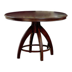 Hillsdale Furniture - Nottingham Dinette Table w Round Top in Dark - For residential use. Chairs not included. Constructed of hardwoods. Climate controlled wood composites. Some assembly required. 53.5 in. Dia. x 30 in. HUrban and sophisticated, the tapered, clean lines of the Nottingham dining collection create an effect that is fresh, modern and timeless. Constructed of hardwoods and climate controlled wood composites.