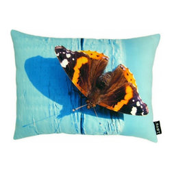 Lava - Butterfly On Blue 12 x 16 Pillow (Indoor/Outdoor) - 100% polyester cover and fill. Suitable for use indoors or out. Made in USA. Spot clean only