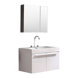 """Fresca - Fresca Vista White Vanity w/ Medicine Cabinet - Dimensions of vanity:  35.38""""W x 18.75""""D x 21.75""""H. Dimensions of medicine cabinet:  29.5""""W x 26""""H x 5""""D. Materials:  MDF with acrylic countertop/sink with overflow. Soft closing doors. Widespread faucet mount (8""""). P-trap, faucet, pop-up drain and installation hardware included. A spacious one basin vanity is a chic addition to any decor.  Ideal for anyone looking for a winning combination of style, sleek design, and size that brings it all together to present something dashingly urban.  A simple, sleekly chic design that compliments any interior that demands to be updated to a strong streamlined space.  A beautiful widespread chrome faucet is also included."""