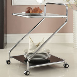 "Acme Furniture - Elz Serving Cart in Chrome and Tempered Black Glass - Elz Serving Cart in Chrome and Tempered Black Glass; Finish: Chrome & 5mm Temp. Black Glass; 4 Casters, with 5mm Tempered Black Glass, Not Beveled; Materials: Metal, Glass, 4 Casters; Weight: 15.43 lbs; Dimensions: 18"" x 18"" x 26""H"