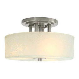 Dolan Designs Lighting - Semi-Flush Ceiling Light - 2245-09 - A lovely etched-glass shade with cloud-like markings is the focal point of this design. A lustrous satin nickel frame holds the glass and a tiny finial ties it all together. This simple design is an attractive addition for any interior space, in which general room lighting is required. UL listed. Dry location rated.