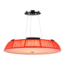 "Worldwide Lighting - Alice 21 LED Light Chrome Finish with Red Shade Drum Pendant Light 28"" D Large - This stunning 21-light Pendant only uses the best quality material and workmanship ensuring a beautiful heirloom quality piece. Featuring a radiant chrome finish with red string shade and LED light source, this beautiful chandelier will illuminate the room with superior energy efficiency, extreme long life, and durability."