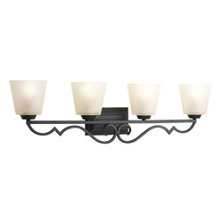 Progress Lighting - Progress Lighting P2025-80 Meeting Street 4 Light Bathroom Light In Forged Black - Progress Lighting P2025-80 Meeting Street 4 Light Bathroom Light In Forged Black