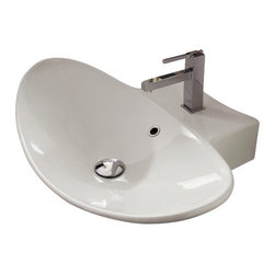 Scarabeo - Oval-Shaped White Ceramic Wall Mounted or Vessel Sink, One Hole - Contemporary wall mounted or above counter oval-shaped white ceramic sink. Single hole vessel or wall mounted bathroom sink with overflow. Made in Italy by Scarabeo.