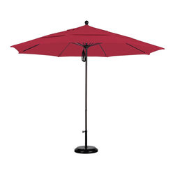 None - Commercial-grade Sunbrella 11-foot Aluminum Umbrella and Stand - Perfect for restaurants or homes requiring a higher standard,this 11-foot umbrella features a deluxe pulley system and a double vent Sunbrella fabric canopy. This commercial-grade outdoor umbrella comes with a heavy-duty 50-pound base stand.
