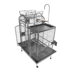 A and E Cage Co. - A&E Cage Co. Split Level Play Top Bird Cage - Stainless Steel Multicolor - PC422 - Shop for Bird Cages and Stands from Hayneedle.com! Medium to large birds need room to move and the A&E Cage Co. Split Level Play Top Bird Cage in Stainles Steel is like a bird condo! This cage features an open top play area with ladder perches and toy hook. It also offers bird proof front door and feeder door locks 4 swing-out feeder doors 4 stainless steel feeder cups and dual perches. A slide out grill and tray system makes for easy clean up while a large front door for easy access and casters for easy mobility. This spacious cage is quality crafted out of durable 304 medical grade stainless steel. About A&E CageThis bird cage is designed and manufactured by A&E Cage Co. LLC. The company is a family-owned and family-operated birdcage company with over 30 years experience in the pet industry. Based in Burlington N.J. A&E Cage offers a wide selection of aviaries bird carriers and bird toys and numerous styles of bird cages to keep your pet birds happy and healthy.