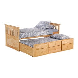 Night & Day Furniture - Night and Day Ginger Captains Bed with Drawers and Trundle in Natural - Twin - Kid's rooms. When it comes to drawer space & sleep surfaces, no matter how much you have, there's just never enough! I think sir newton said that. Complete with built-in trundle and additional drawers our ginger captain's bed is really more a piece of. Well, survival equipment.