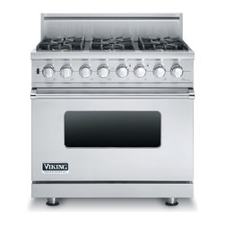 """Viking 36"""" Pro-style Dual-fuel Range, Stainless Steel Natural Gas 