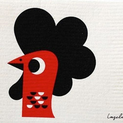 Swedish Dishcloth Modern Retro Rooster - THE SWEDISH ECO-FRIENDLY DISHCLOTH: The dry sponge cloth was invented in 1949 by the Swedish engineer Curt Lindquist, who discovered that a mixture of natural cellulose (wood pulp) and cotton can absorb an incredible 15 times its own weight in water.