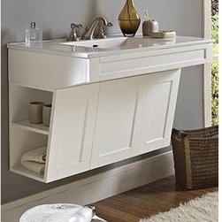 """Fairmont Designs - Fairmont Designs Shaker 36"""" Wall Mount ADA Vanity - Polar White - Fairmont Designs is described in two words; quality and beauty. Express your creativity with Fairmont Designs bathroom vanities and bath furniture ensembles. The distinctive families of bath furniture from Fairmont Designs come in styles for every bath. Artistry and elegance are delivered in carefully constructed products built with sustainable materials and sturdy craftsmanship. From petite corner solutions to traditional sized pieces, Fairmont Designs is your choice for exquisite and timeless beauty.Features: Vanity meets ADA Specs Center door opens for storage and access to plumbing Open shelves on both sides of cabinet Dimension: 36""""W x 21""""D x 24-1/4""""H Also pictured (sold separately): TC-3722W8 - Ceramic Top (Ease Edge) How to handle your counter View Spec Sheet"""