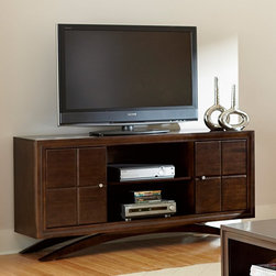 Martin - Princeton TV Stand by Martin Home Furnishings - Toasted Cherry Finish - PN360 - Shop for Visual Centers and Stands from Hayneedle.com! The Princeton TV Stand by Martin Home Furnishings Toasted Cherry Finish combines mid-century modern style with 21st century conveniences for an entertainment experience that s fun and hassle free. Beautifully crafted from hardwood solids and veneers this large TV stand comes in your choice of size and is equipped with wire management and heat ventilation features to help organize and protect your electronics. Its multi-step hand-applied toasted cherry wood finish is complemented by brushed nickel hardware and an elegant aerodynamic base. There s plenty of storage for movie lovers too including an adjustable shelf behind each cabinet door for holding DVDs and more. About Martin FurnitureMartin Furniture was founded in 1980 by Gil Martin in the San Diego suburb of El Cajon. Martin started the company in his garage with $400 a Craftsman table saw and the business knowledge he gained from working for defense contractor General Dynamics. Today Martin Furniture specializes in American-made and imported office and home entertainment furniture. In 2003 it teamed up with Kathy Ireland's design company Kathy Ireland Home creating furniture solutions for families. Boasting solid growth in sales over the past 25 years Martin Furniture's success can also be measured by the satisfaction of its customers. Its operation now includes among other resources a 250 000 square-foot facility in San Diego. In addition to the bookshelves found here Martin has a vast collection of flooring rugs lighting wall art accessories home office and general home furniture for all budgets.