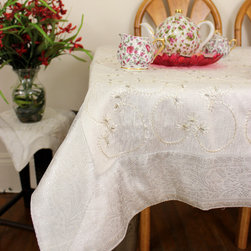 "Unique & Decorative Tablecloths - Pure ""Snow White"" Square tablecloth. Embroidered by hand in India. Dupion Silk fabric. Gorgeous Wedding decor idea."