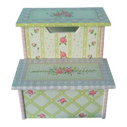Teamson Design - Teamson Design Hand Painted Kids Stool with Storage in Pink Crackle Finish - Teamson Design - Step Stools - W5423M. Its always better to have furniture that has multiple features! This hand painted step stool doubles as a chair so there is always use for it!