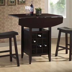 Wholesale Interiors - Reynolds 3-Pc Drop-Leaf Pub Set - Includes table and two matching saddle stools. Transitional style. Drop-leaf tabletop supported by a centrally-positioned wine rack. Shelf for additional storage or display of decor. Built-in wine rack and standard shelf. Wine rack holds twelve bottles. Dust with a dry cloth. Two drop leaf 7.8 in. for each. Made from eco-friendly rubberwood and engineered wood. Black lacquer finish. Made in Malaysia. Assembly required. Pub table minimum: 20.13 in. W x 35.88 in. D x 34.88 in. H. Pub table maximum: 35.88 in. W x 35.88 in. D x 34.88 in. H (94.25 lbs.). Seat height 23.75 in.. Stool: 17.38 in. W x 9 in. D x 23.75 in. H. Top shelf: 14.38 in. W x 16 in. D x 8.38 in. H. Wine rack: 14.25 in. W x 4.5 in. D x 3.5 in. HYour breakfast nook will be changed for the better after you add our Reynolds pub set to your home.