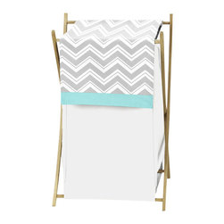Sweet Jojo Designs - Zig Zag Turquoise and Gray Laundry Hamper by Sweet Jojo Designs - The Zig Zag Turquoise and Gray Laundry Hamper by Sweet Jojo Designs, along with the  bedding accessories.