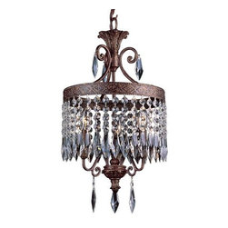 Joshua Marshal - Three Light Dark Bronze W/gold Up Mini Chandelier - Three Light Dark Bronze W/gold Up Mini Chandelier