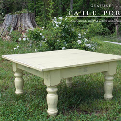 Custom Farmhouse Furniture - Our Farmhouse coffee table features an authentic planked top and is finished in a custom Butter with Summer distressing.
