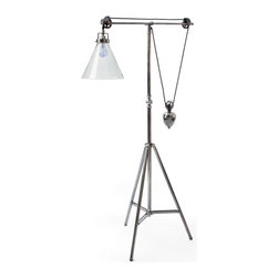 Go Home - Go Home Weighted Floor Lamp - Give an old world charm to your studio with this Weighted Floor Lamp from the European country collection. It features a vintage steel finish and high-quality robust brass make. It is tripod and innovatively designed that makes it a well-balanced piece to harmonize dull surroundings.