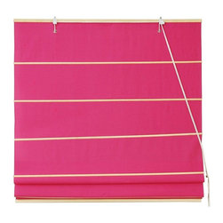 Oriental Furniture - Cotton Roman Shades - Pink - (24 in. x 72 in.) - These Pink colored Roman Shades combine the beauty of fabric with the ease and practicality of traditional blinds. They are made of 100% cottons.