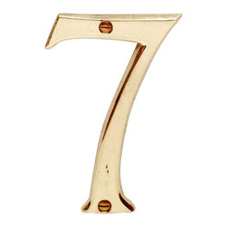 """Renovators Supply - House Numbers Bright Solid Brass #7 3 7/8"""" height - House numbers: Crafted of solid brass, these die cast numbers measure 3-7/8 in. high. Our RSF protective finish guarantees these numbers will withstand the elements. A polished brass finish will embellish your home's exterior. Includes 2 screws for mounting."""