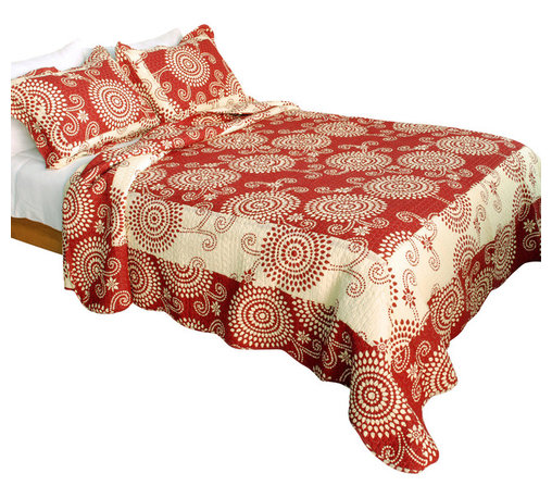 Blancho Bedding - [Bright Fireworks] 100% Cotton 3PC Patchwork Quilt Set (Full/Queen Size) - The [Bright Fireworks] Quilt Set (Full/Queen Size) includes a quilt and two quilted shams. Shell and fill are 100% cotton. For convenience, all bedding components are machine washable on cold in the gentle cycle and can be dried on low heat and will last you years. Intricate vermicelli quilting provides a rich surface texture. This vermicelli-quilted quilt set will refresh your bedroom decor instantly, create a cozy and inviting atmosphere and is sure to transform the look of your bedroom or guest room. Dimensions: Full/Queen quilt: 90 inches x 98 inches; Standard sham: 20 inches x 26 inches.