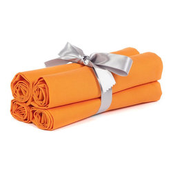 "BH Decor - Solid Orange Table Linen Napkins ( Set of 4 ) - - 20"" square"