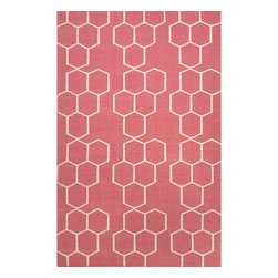 Jaipur Rugs - Jaipur Rugs Flat-Weave Geometric Pattern Wool Red/Ivory Area Rug, 8 x 10ft - An array of simple flat weave designs in 100% wool - from simple modern geometrics to stripes and Ikats. Colors look modern and fresh and very contemporary.
