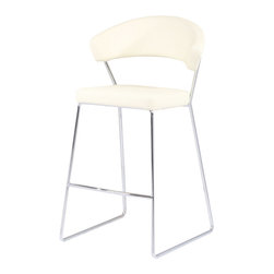 Zuri Furniture - Orleans Contemporary Counter Stool - White - Roll with the Orleans Counter Stool: an elegantly modern substitute for conventional kitchen furnishings. The patterned seat rests on a chrome frame.
