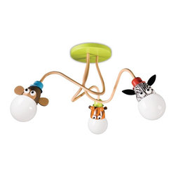 Philips 3-Light Fluorescent Flush Mount Ceiling Fixture - This three-bulb light fixture features fun animals with noses that light up. It's made of non-toxic, cadmium-free and lead-free materials and comes with an energy-saving light bulb.