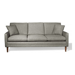 TrueModern - Circa Standard Sofa, Wheat - The legs of this sofa are made of a sturdy, solid walnut. The upholstery contains 46% Rayon, 37% polyester, 17% cotton