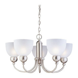 Sea Gull Lighting - Sea Gull Metropolis Chandelier - 25.5W in. Brushed Nickel Multicolor - 31036-962 - Shop for Chandeliers from Hayneedle.com! The Sea Gull Metropolis Chandelier - 25.5W in. Brushed Nickel features an arched silhouette with soft curves and a unique reversible design. It is sure to complement and enhance your transitional-style decor. With five lights on a single tier this chandelier also includes 10 feet of pre-laced chain. It boasts a striking Brushed Nickel finish that creates a stunning counterpoint to the exquisite satin etched glass shades. This fixture requires five 100-watt medium-base bulbs which are not included. Measuring 25.5 inches wide by 14.75 inches high this chandelier will illuminate your home in style.About Sea Gull LightingSea Gull Lighting prides itself on being experts in outdoor lighting. They specialize in the latest technology lighting techniques available new products and professional design aspects of creating a well-designed lighting plan. As an example of their industry leadership they are at the forefront of lighting legislation and changing electrical codes leading the industry in ENERGY STAR Lighting Dark Sky Lights California's Title 24 and outdoor lighting technology. In fact Sea Gull Lighting was named ENERGY STAR's Partner of the Year in 2007. Look for continued innovation and the highest quality lighting from Sea Gull always.
