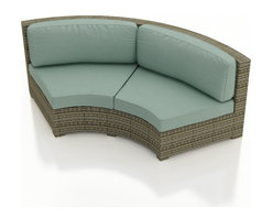 Forever Patio - Hampton Radius Curved Sectional Loveseat, Heather Wicker and Spa Cushions - The Forever Patio Hampton Radius Rattan Outdoor Curved Loveseat with Turquoise Sunbrella cushions (SKU FP-HAMR-CLS-HT-SP) is uniquely designed to fit around circular ottomans, tables and fire pits while providing roomy seating for two. The UV-protected, heather wicker sports a flat woven design, creating a contemporary look with clean lines. Each strand of this outdoor wicker is made from High-Density Polyethylene (HDPE) and is infused with its rich color and UV-inhibitors that prevent cracking, chipping and fading ordinarily caused by sunlight. This curved patio loveseat is supported by thick-gauged, powder-coated aluminum frames that make it more durable than natural rattan. This sofa includes fade- and mildew-resistant Sunbrella cushions for added comfort in your outdoor space.