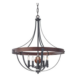Murray Feiss - Murray Feiss F2794/5AF/CBA Alston 5 Bulb AF/Charcoal Brick/Acorn Chandelier - Murray Feiss F2794/5AF/CBA Alston 5 Bulb AF/Charcoal Brick/Acorn Chandelier
