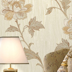 Gemma Orange Embroidered Jacobean Floral Wallpaper - A wallpaper covered in lush orange Jacobean florals with a stylish embroidered design, bring to your walls an embossed gleaming texture full of fascinating beauty.