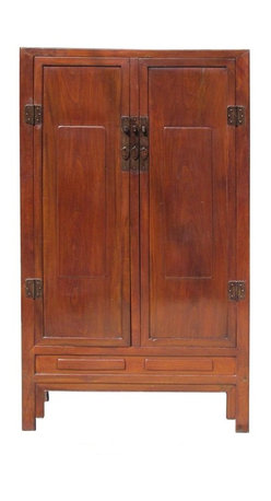 Golden Lotus - Chinese Unique Lacquer Brown Color Wooden Cabinet - This is a unique brown color cabinet. It is made of solid elm wood and has special lacquer inside the compartment and drawers. They first put the fabric on the wood panels and lacquered on the fabric to made extra protection and the rustic effect.
