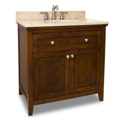Hardware Resources - Catham Shaker Jeffrey Alexander Vanity  36 x 22 x 36 - This 36 inch wide solid wood vanity features a clean shaker design in a warm Chocolate finish.  With a top drawer fitted around plumbing and spacious cabinet with adjustable shelf  there is plenty of storage space.  Drawers are solid wood dovetailed drawer boxes fitted with full extension soft close slides  and cabinet features integrated soft close hinges.   This vanity has a 2.5CM engineered Emperador Light marble top preassembled with an H8810WH (17 x 14) bowl  cut for 8 faucet spread  and corresponding 2CM x 4 tall backsplash.    Overall Measurements: 36 x 22 x 36 (measurements taken from the widest point) Finish: Chocolate Material: Wood Style: Traditional Coordinating Mirror(s): MIR090 24  MIR090 30 Bowl: H8810WH Coordinating Hardware: 3915 SN