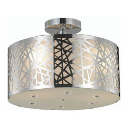 "PWG Lighting / Lighting By Pecaso - Heloise 3-Light 14"" Crystal Flush Mount 1769F14C-RC - Alive with prismatic color, this multi-layered collection, Heloise, is as versatile as it is beautiful. The crystal quietly graces the shade allowing this design to be compatible with a wide range of decorating styles."