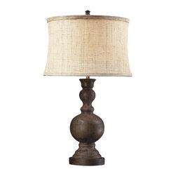 Dimond Lighting - Westbridge 1-Light Table Lamp in Dark Oak - Dimond Lighting D2240 Westbridge 1-Light Table Lamp in Dark Oak