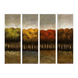 Imax Worldwide Home - The Four Seasons Four Canvas Oil Painting - Material: 50% Pine Wood, 20% Oil, 20% Canvas, 5% Paperboard, 5% Felt Backing. 1.75 in. H x 30 in. W x 10 in. D. Weight: 10.56 lbs.Each of the four seasons grace it's own unique hand-painted oil on canvas and is a perfect year round statement.