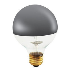 Bulbrite - Frost Globe Light Bulbs - 12 Bulbs - One pack of 12 Bulbs. 120 V E26 base incandescent G25 bulb type. Dimmable. 360 degree beam spread. Mirrored bulb to reflect light back towards the base. Perfect for open fixtures, pendants, restaurant and retail lighting. Wattage: 100 W. Color temperature: 2700 K. Average hours: 1500. Color rendering index: 100. Half chrome color. Maximum overall length: 4.38 in.