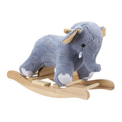 "Charm Company - Ellie Elephant Rocker - The Elmer Elephant Plush Rocker by the Charm Co. features a baby blanket soft powder blue plush body with pink and white accents. This rocking elephant sits low to the ground to provide a safe and comfortable ride for toddlers. Squeeze his ear to hear him TRUMPET this feature requires 2AA batteries not included. Holds up to 100 lbs. Recommended for children ages 3 and up. Strong hardwood rocker base. Natural non-toxic finish. Natural stain wooden handles. Extra soft plush body Fun sounds. Easy clean up with mild soap and water. Dimensions: Overall Height: 16"" Seat Height to Floor: 11"" Rocker Length: 25.5"" Rocker Width: 10.5""."