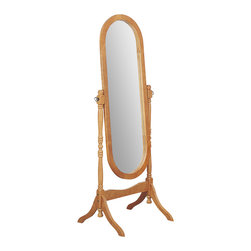 Monarch Specialties - Monarch Specialties I 4101 Oak Oval Cheval Mirror - This oak cheval floor mirror will be a lovely addition to your contemporary master bedroom. The functional piece features an oval shaped mirror glass, with swivel motion for adjustability and ease of use. Mirror (1)