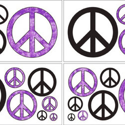 Sweet Jojo Designs - Peace Purple Wall Decal Set of 4 Sheets by Sweet Jojo Designs - The Peace Purple Wall Decal Set of 4 Sheets by Sweet Jojo Designs, along with the  bedding accessories.
