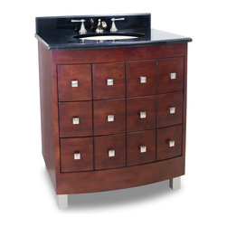 Hardware Resources - Lyn Design VAN038-T Wood Vanity - If you've ever found yourself coveting a librarian's old card catalog, you'll adore this modern version, in the form of a stylish bathroom vanity. The sharp geometry of the drawer pulls truly gleam, and the cherry finish of the wood adds depth to this overall stunning piece.