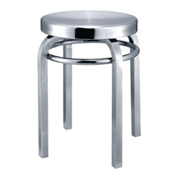 Fine Mod Imports Navy Stool Chair, Aluminum - Navy Stool is made of brushed aluminum, for indoor use only. Chair swivels for maximum comfort.