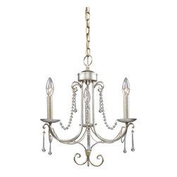 Elk Lighting - ELK Lighting  Cambridge 3-Light Chandelier - Elongated Crystal Drops And Glass Bead Chains Dress The Cambridge Collection Delivering A Refined Presentation And The Antique Silver (As) Finish Has An Air Of Formality.